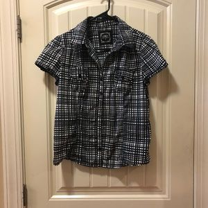 (L) Navy & White button down blouse by Cato's